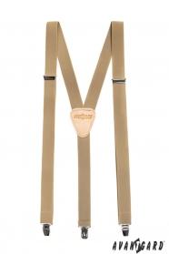 Šle Y s koženým středem zapínání na klipy - 25 mm - béžová kůže