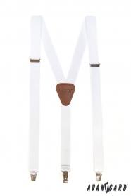 Bílé pánské šle s hnědou kůží a  zapínáním na kovové klipy