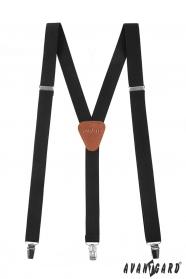 Černé pánské šle Y s hnědou kůží a zapínáním na kovové klipy
