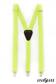 Šle Y s koženým středem zapínání na klipy, žlutá neon