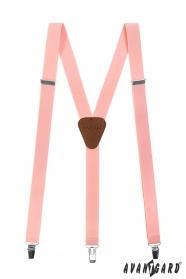 Světle růžové pánské šle s hnědou kůží a zapínáním na klipy