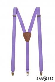 Pánské šle lila s hnědou kůží a zapínáním na kovové klipy
