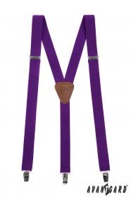 Fialové pánské šle s koženým středem zapínání na kovové klipy