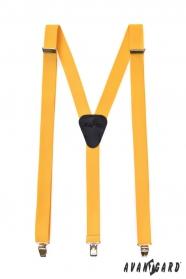 Šle Y žluté barvy s koženým středem zapínání na klipy