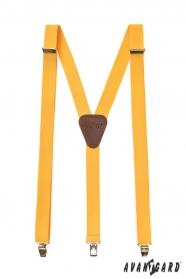 Žluté pánské šle s hnědou kůží a zapínáním na kovové klipy