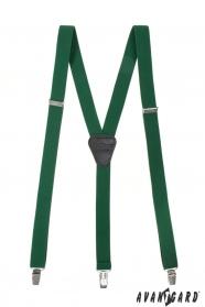 Smaragdově zelené pánské šle na kovové klipy