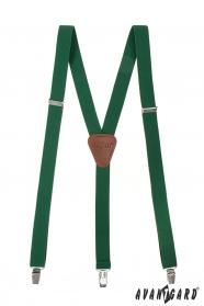 Smaragdově zelené šle s hnědou kůží a zapínáním na klipy