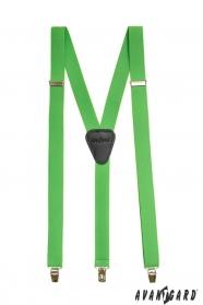Zelené šle Y s koženým středem zapínání na klipy