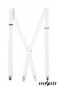 Bílé pánské šle s kovovými sponami
