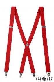 Červené šle s kovovým středem a zapínáním na klipy
