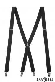 Černé šle X s kovovým středem a zapínáním na klipy