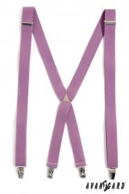 Šle X s kovovým středem a zapínáním na klipy, šeříková barva
