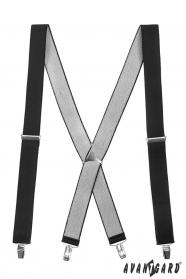 Černé šle s kovovým středem a zapínáním na klipy