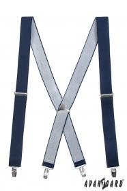 Tmavě modré šle s kovovým středem a zapínáním na klipy