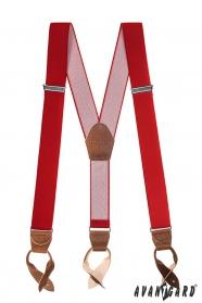 Červené pánské šle s koženými poutky