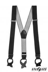 Pánské šle (kšandy) s koženými poutky černé