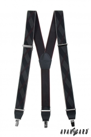 Černé vzorované pánské šle s kovovými klipy