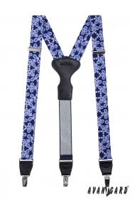 Modré vzorované šle, kožený střed zapínání na klipy - 34 mm