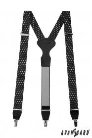 Černé látkové šle s bílými puntíky, černou kůží a zapínáním na kovové klipy