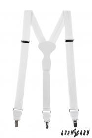Bílé strukturované šle s bílou kůží a zapínáním na kovové klipy