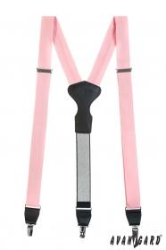 Růžové látkové šle s koženým středem a zapínáním na klipy v dárkovém balení