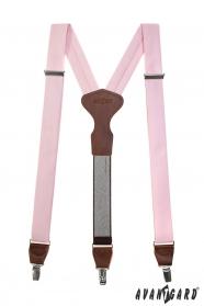 Růžové látkové šle Y s koženým středem a zapínáním na klipy - tmavě hnědá kůže