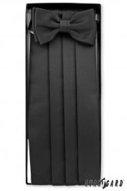 Frakový pás s motýlkem a kapesníčkem v černé