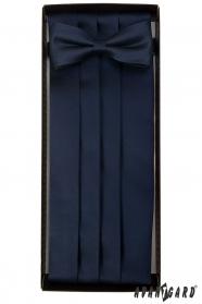 Tmavě modrý smokingový pás s motýlkem a kapesníčkem
