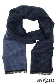 Modrá pánská šála s jemnými tečkami