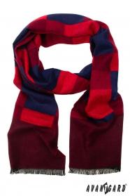 Pánská šála s červeno-modrým vzorem
