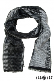 Černo-šedá šála s klikatým vzorem