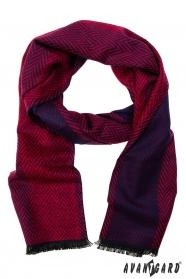 Červeno-modrá vzorovaná šála