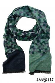 Modro-zelená kostkovaná šála