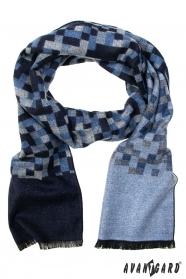 Šála s modro-šedým kostkovaným vzorem