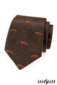 Hnědá kravata s motivem liška