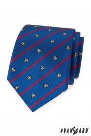 Modrá kravata fotbal s červeným pruhem
