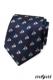 Modrá pánská kravata barevné plachetnice