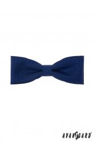 Tmavě modrý bavlněný pánský motýlek s modrým vzorem