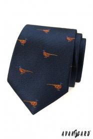 Modrá kravata se vzorem Bažant