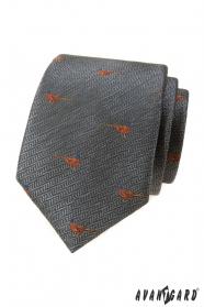 Šedá kravata vzor Bažant