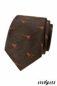 Hnědá kravata vzor Bažant