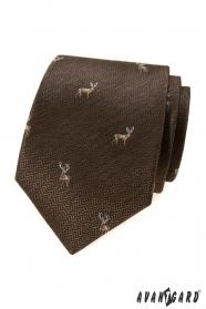 Hnědá kravata s jelenem