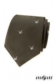 Zelená kravata s motivem letící kachna