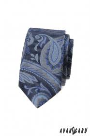 Modrá slim kravata s moderním vzorem