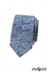 Modrá slim kravata s paisley vzorem