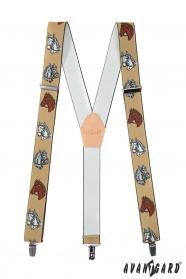 Pánské šle s motivem koně béžová kůže a zapínáním na kovové klipy