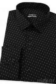 Pánská košile SLIM černá bílý vzor