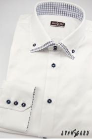 Sněhově bílá košile slim s modrými doplňky dlouhý rukáv