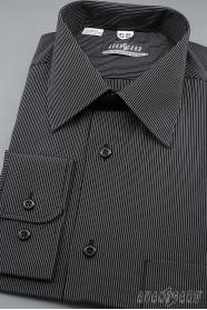 Pánská košile dlouhý rukáv Černá s bílým proužkem