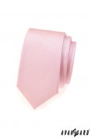 Růžová jemně strukturovaná SLIM kravata